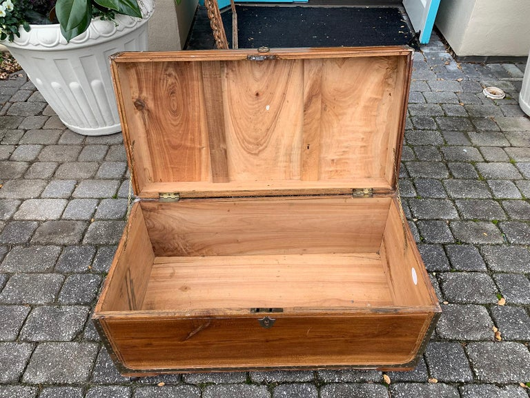 19th Century Anglo-Indian Wood Trunk with Wheels 15