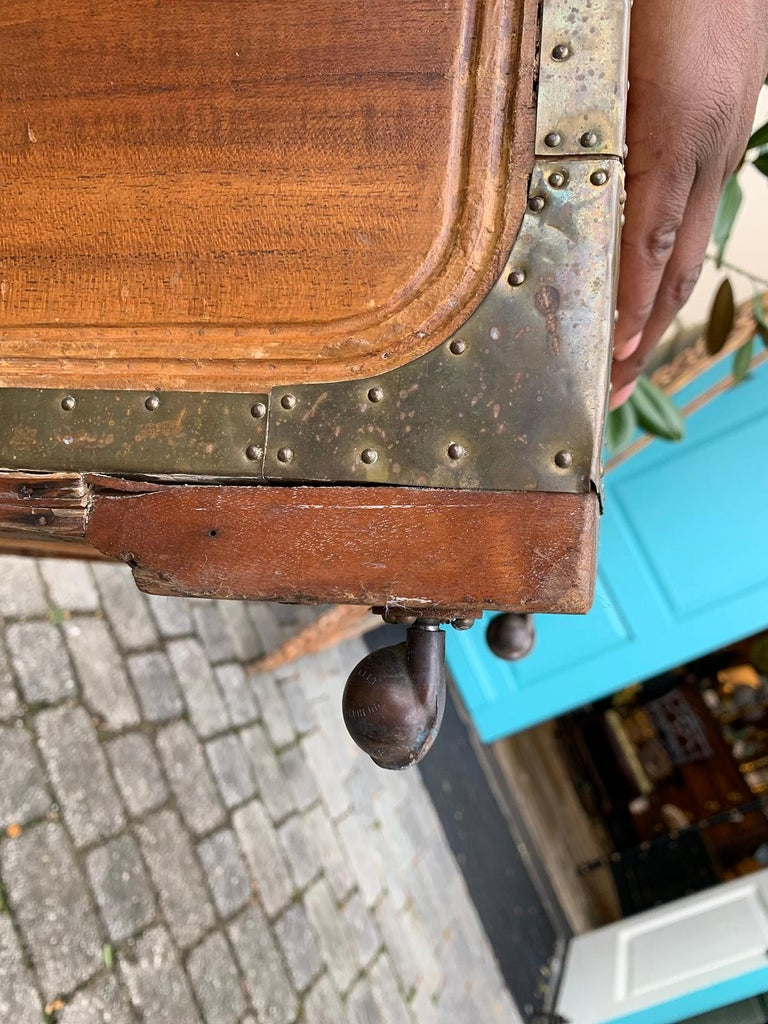 19th Century Anglo-Indian Wood Trunk with Wheels 1