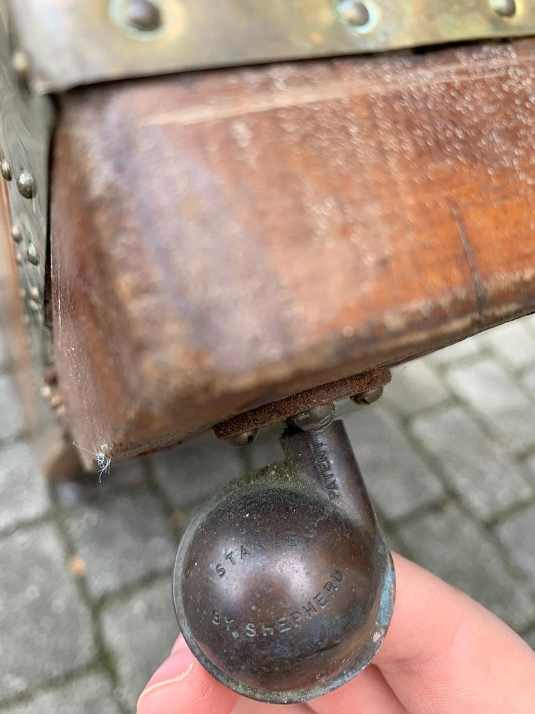 19th Century Anglo-Indian Wood Trunk with Wheels 2