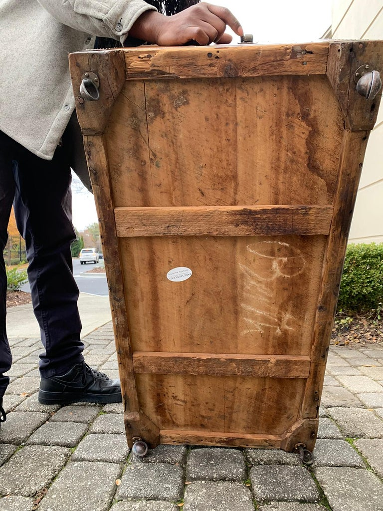19th Century Anglo-Indian Wood Trunk with Wheels 3