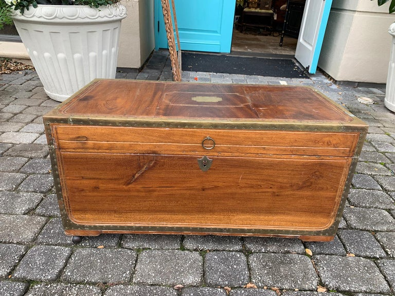 19th Century Anglo-Indian Wood Trunk with Wheels 4