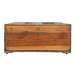 19th Century Anglo-Indian Wood Trunk with Wheels