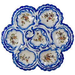 19th Century Angoulême French Faïence, Alfred Renoleau Hand Painted Oyster Plate