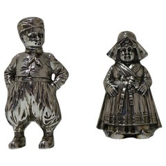 19th Century Antique 800 Standard Silver Figural Peppers German circa 1890, Pair
