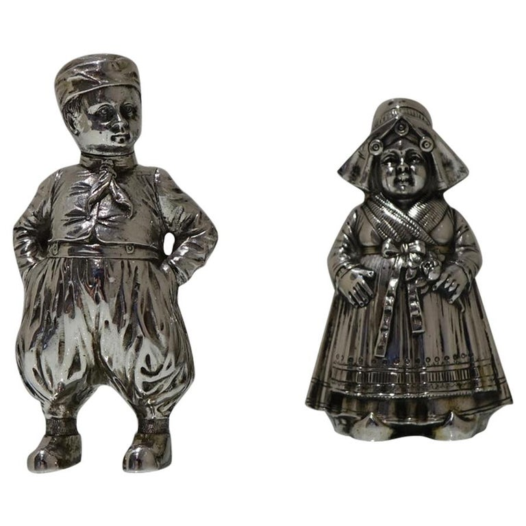 19th Century Antique 800 Standard Silver Figural Peppers German circa 1890, Pair For Sale