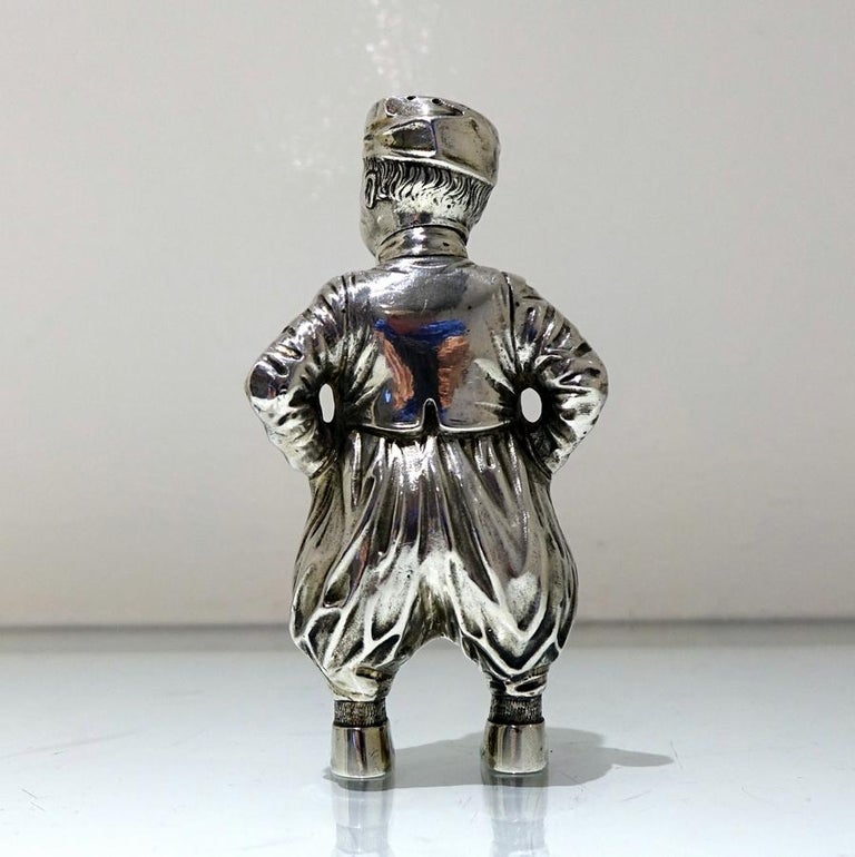 19th Century Antique 800 Standard Silver Figural Peppers German circa 1890, Pair For Sale 5