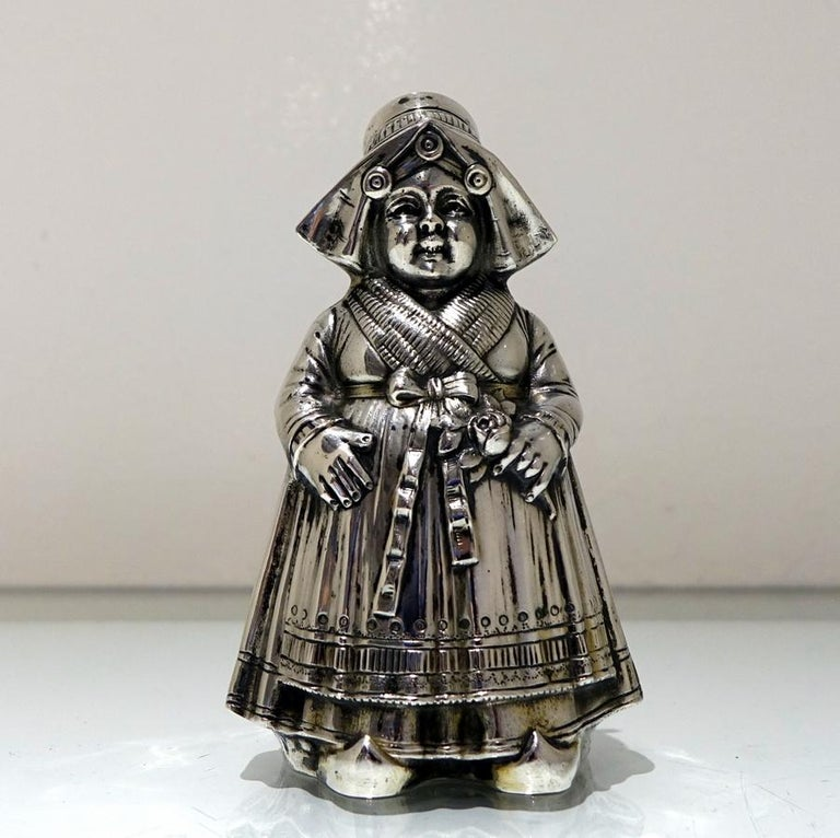 Victorian 19th Century Antique 800 Standard Silver Figural Peppers German circa 1890, Pair For Sale