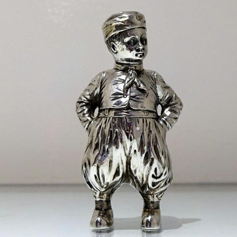 19th Century Antique 800 Standard Silver Figural Peppers German circa 1890, Pair In Good Condition For Sale In 53-64 Chancery Lane, London
