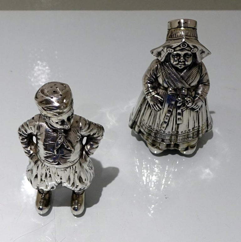 19th Century Antique 800 Standard Silver Figural Peppers German circa 1890, Pair For Sale 1