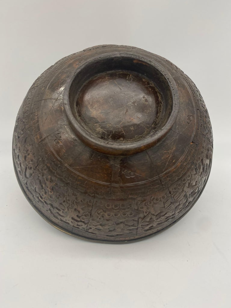 Antique 19th century Chinese tin coconut big bowl with mark, diameter 8.5inch, high 3.5 inch.