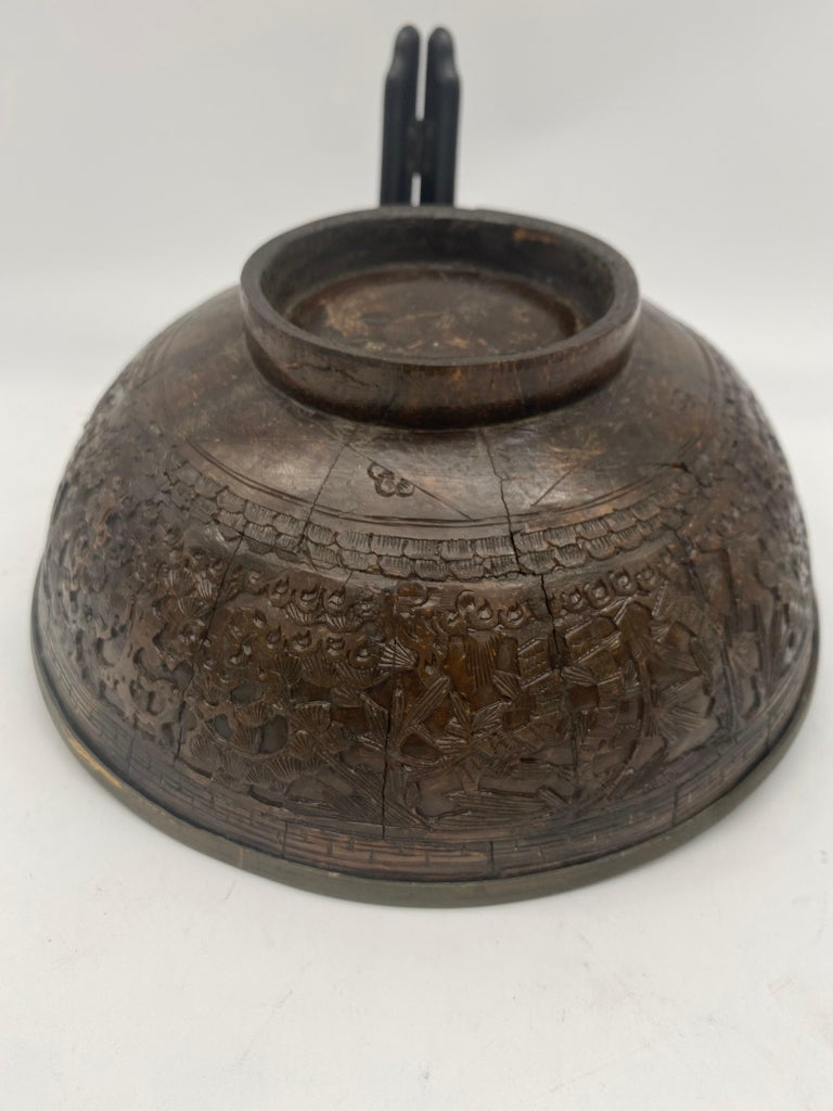 Carved 19th Century Antique Chinese Inlay Tin Coconut Big Bowl For Sale