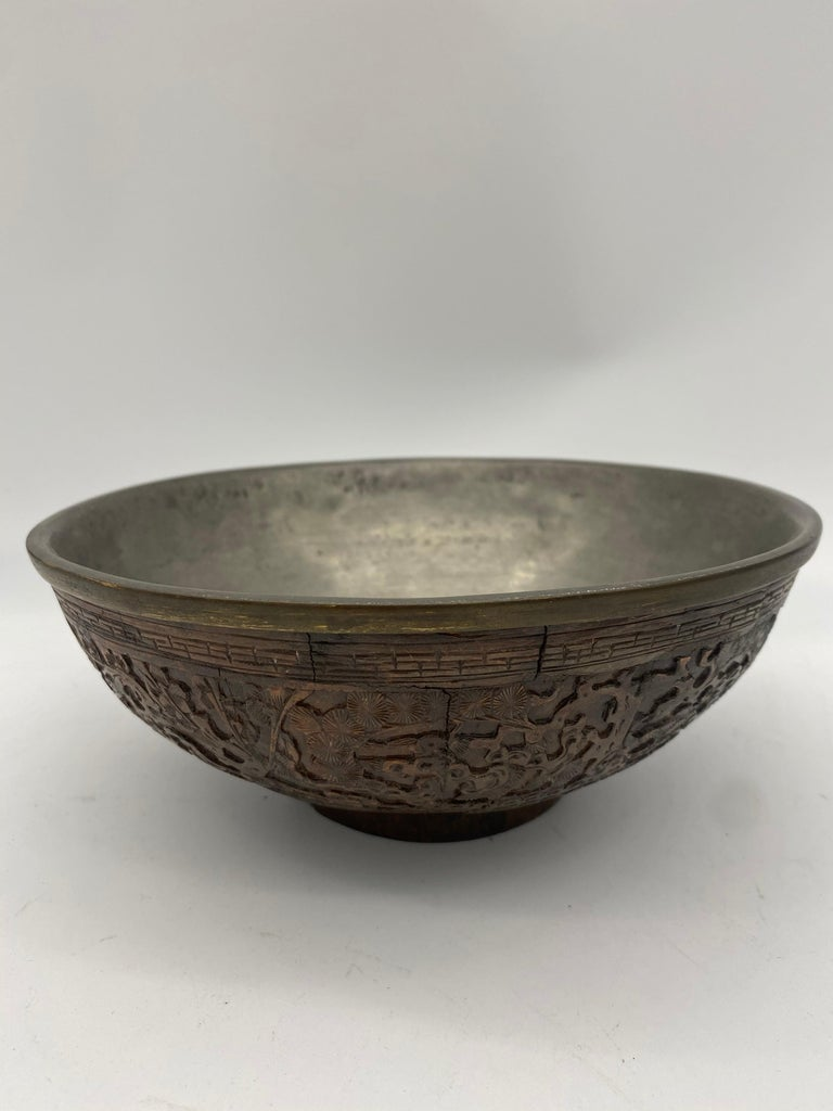 19th Century Antique Chinese Inlay Tin Coconut Big Bowl For Sale 2