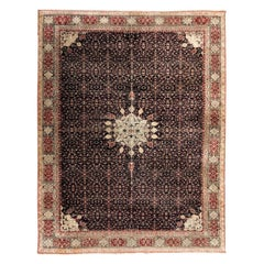 19th Century Antique Agra Rug, Central Medallion, circa 1890
