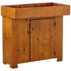 19th Century Antique American Primitive Puristic Pine Dry Sink / Dry Bar