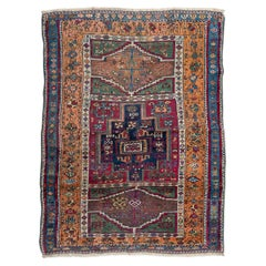 19th Century Antique Anatolia Turkish Rug, Tribal Design, circa 1870