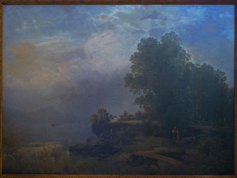 19th Century Antique Austrian Landscape Painting of Tyrol Lake by Anton Pick For Sale 11