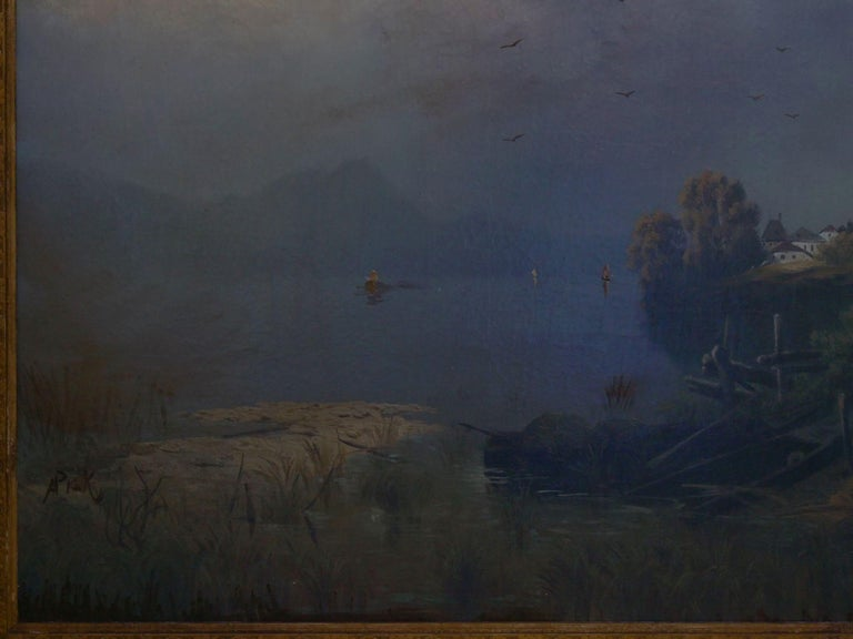 19th Century Antique Austrian Landscape Painting of Tyrol Lake by Anton Pick For Sale 14
