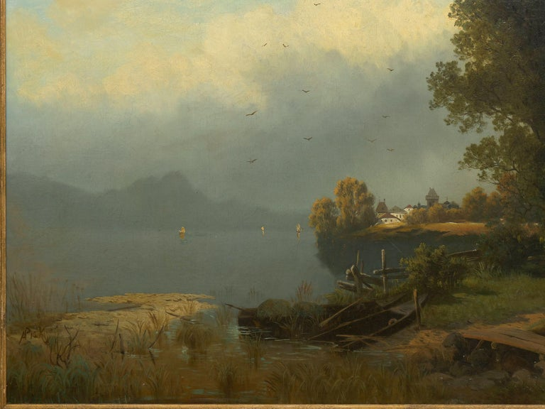 Canvas 19th Century Antique Austrian Landscape Painting of Tyrol Lake by Anton Pick For Sale