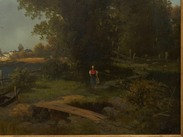 19th Century Antique Austrian Landscape Painting of Tyrol Lake by Anton Pick For Sale 1