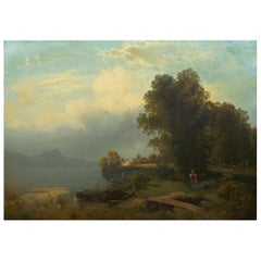 19th Century Antique Austrian Landscape Painting of Tyrol Lake by Anton Pick