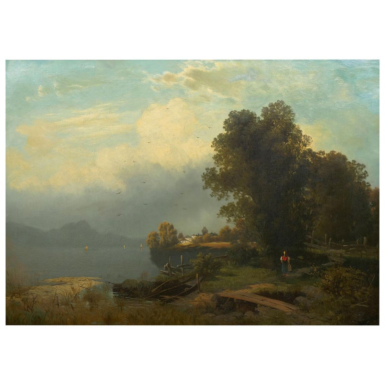 19th Century Antique Austrian Landscape Painting of Tyrol Lake by Anton Pick For Sale