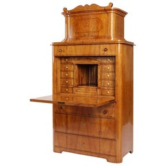 19th Century Antique Biedermeier Secretaire, Cabinet, Ash, Germany, circa 1840