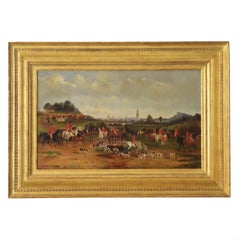 19th Century Antique British Hunt Scene Landscape Painting by T. Gassner