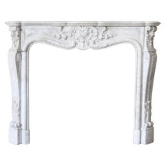 19th Century, Antique Carrara Marble Fireplace from Louis XV
