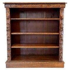 19th Century Antique Carved Oak Open Bookcase