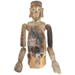 19th Century Antique Carved Wooden Figure Sculpture with Articulated Joints