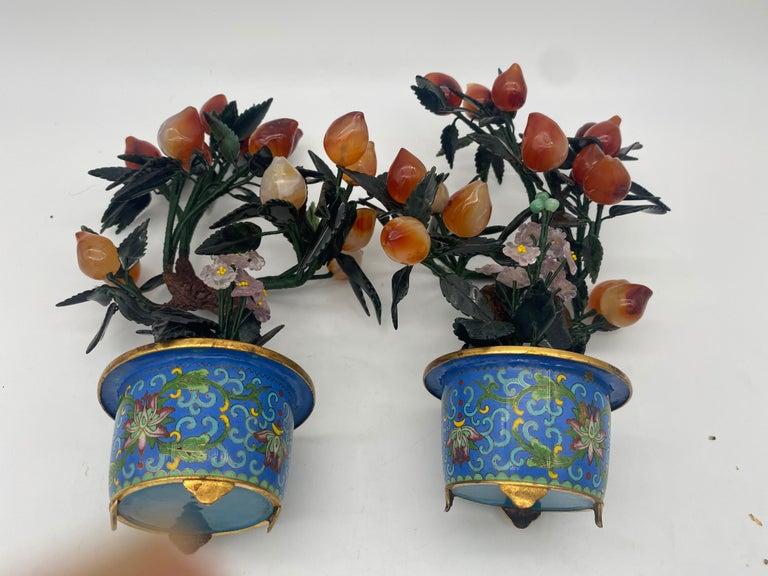 Antique Chinese Bonsai Tree in Gilt Cloisonné Pot For Sale 5