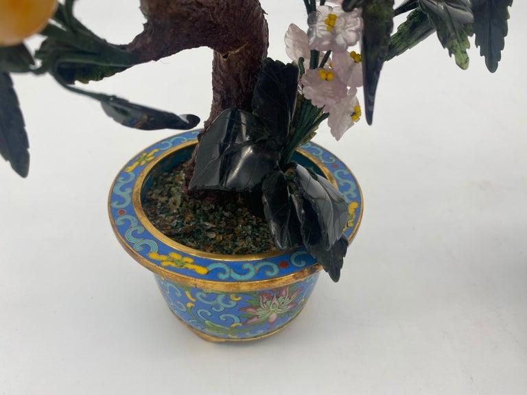 Antique Chinese Bonsai Tree in Gilt Cloisonné Pot For Sale 7