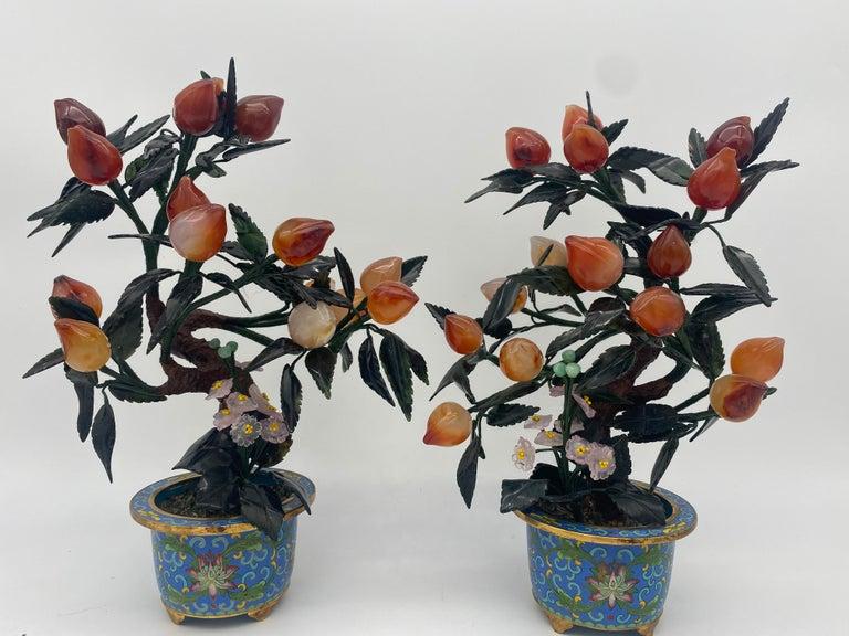 Antique Chinese Bonsai Tree in Gilt Cloisonné Pot For Sale 8