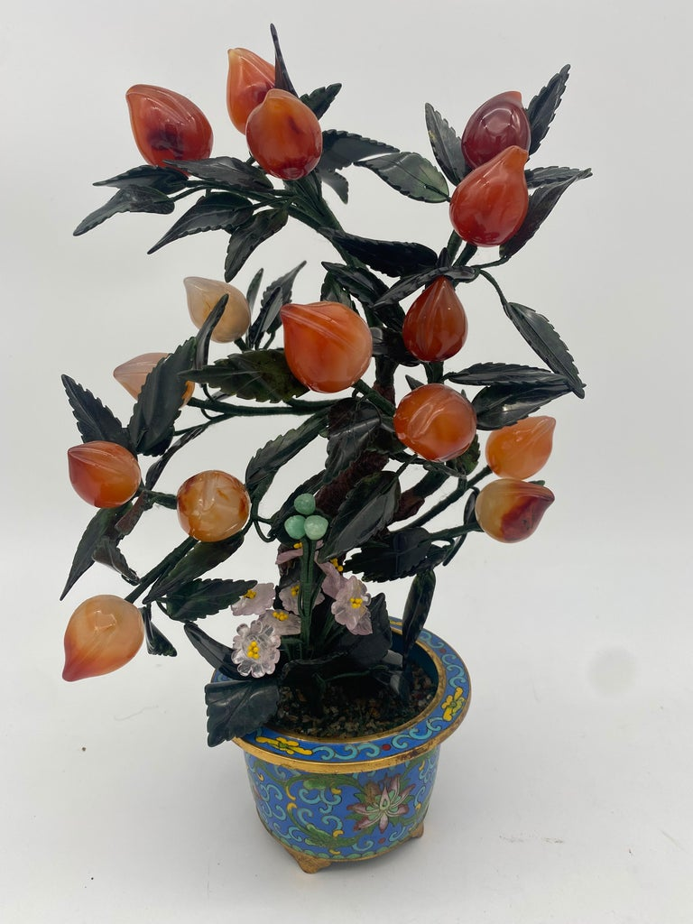 Antique Chinese multi-color bonsai tree in gilt cloisonné pot, very excellent and nice, measures: 12