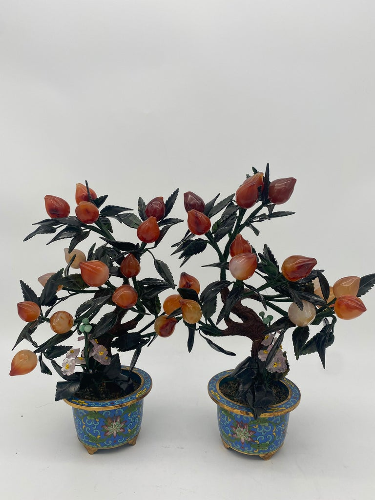 Antique Chinese Bonsai Tree in Gilt Cloisonné Pot For Sale 1