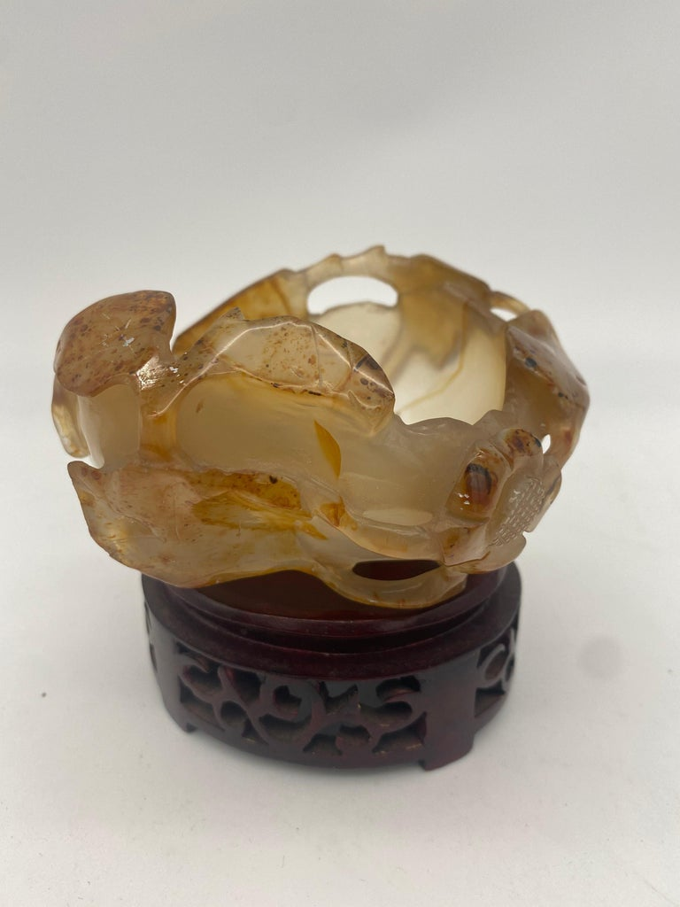 19th Century Antique Chinese Agate Brush Washer For Sale 9