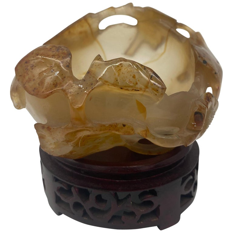19th Century Antique Chinese Agate Brush Washer For Sale