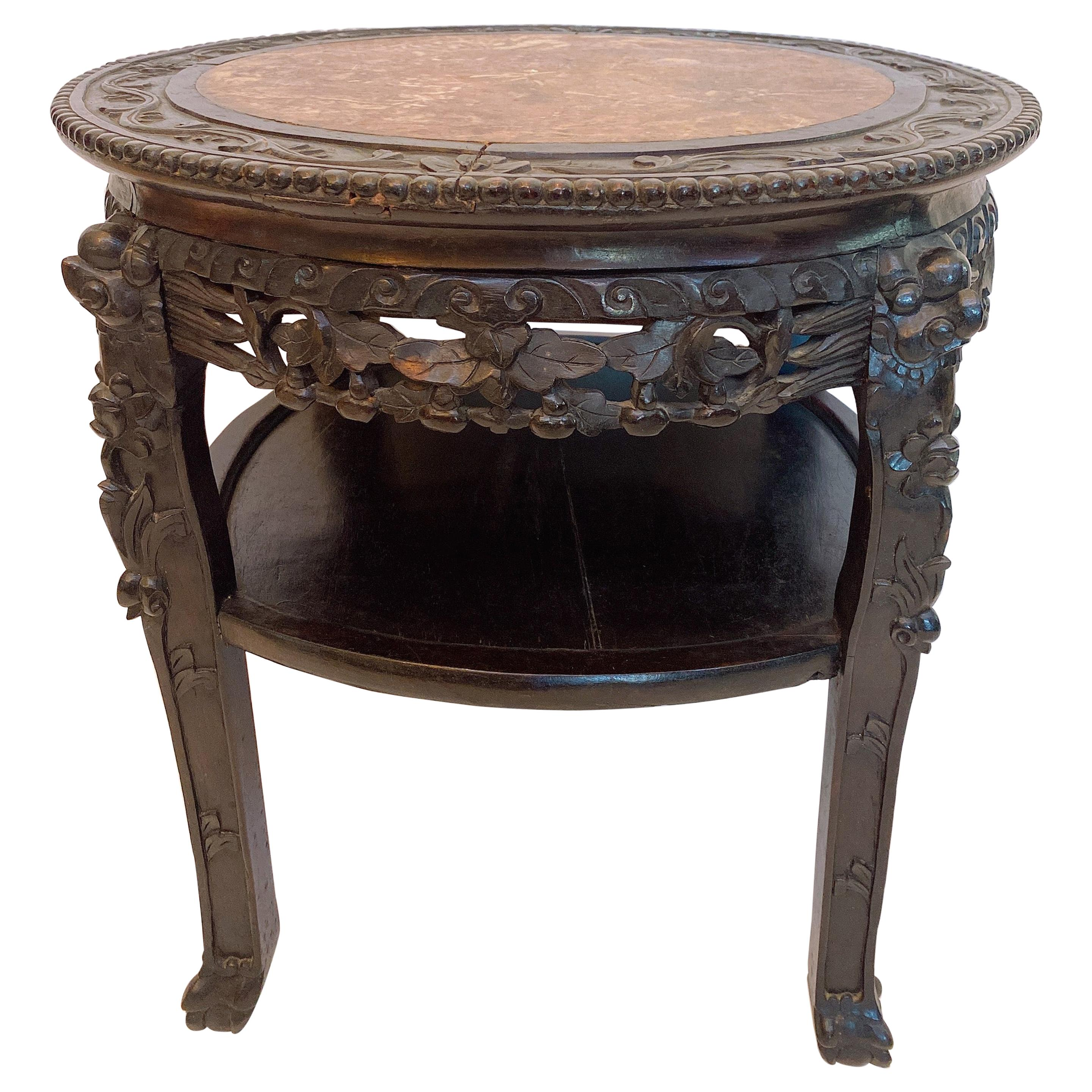 19th Century 23.5'' Chinese Carved Rosewood Flower Stands Marble-Top Insert
