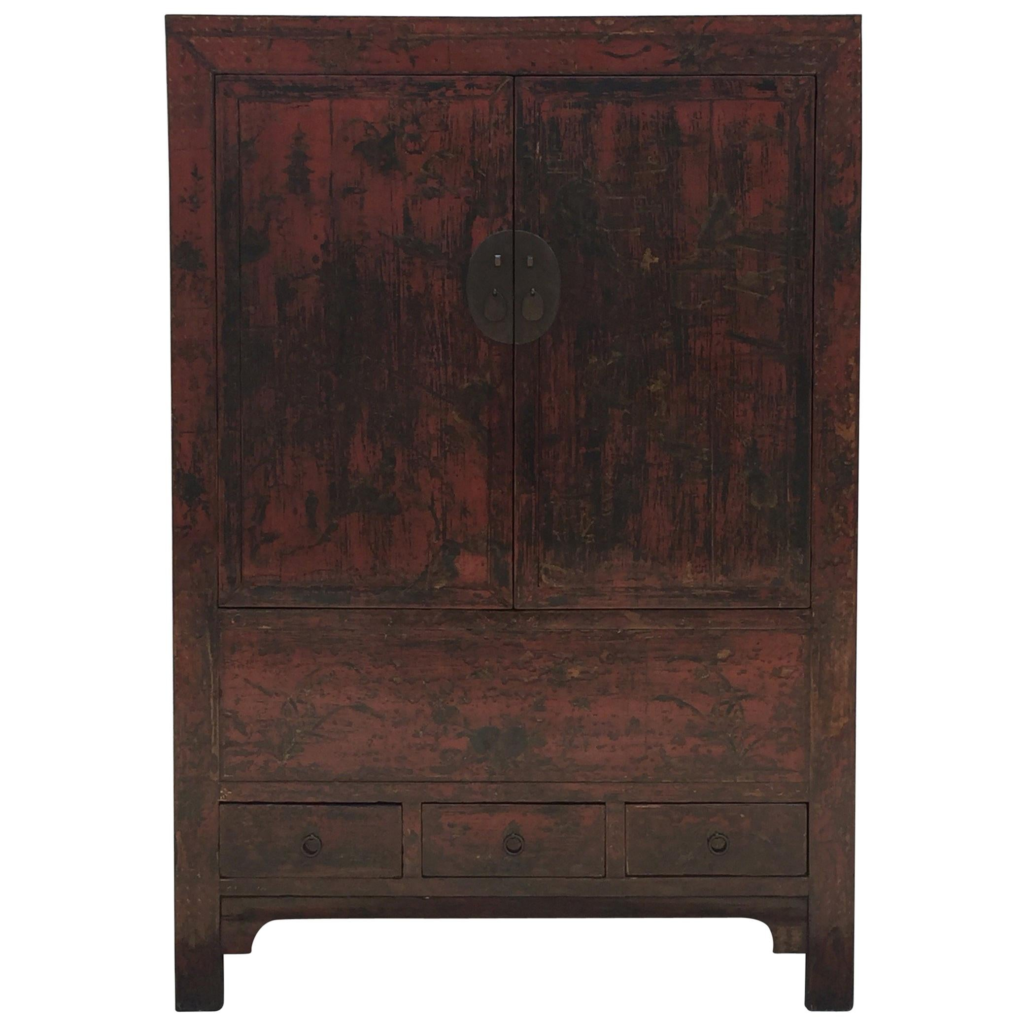 19th Century Antique Chinese Chinoiserie Hand-Painted Lacquer Cabinet