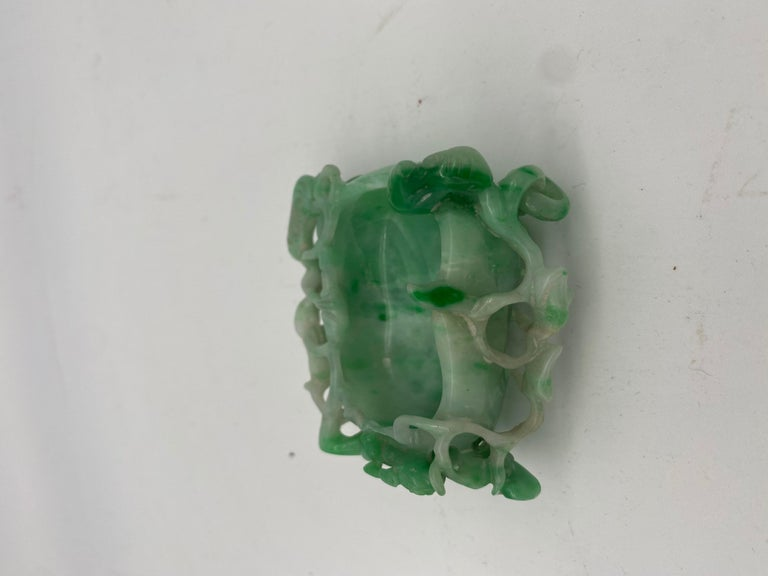 19th Century Antique Chinese Jadeite Brush Washer with Dragon For Sale 6
