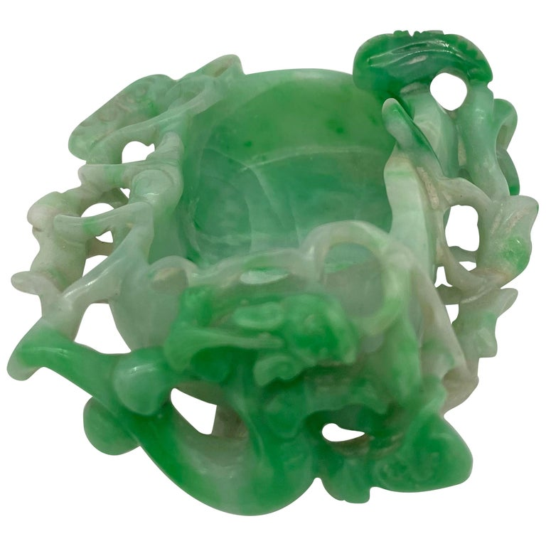 19th Century Antique Chinese Jadeite Brush Washer with Dragon For Sale