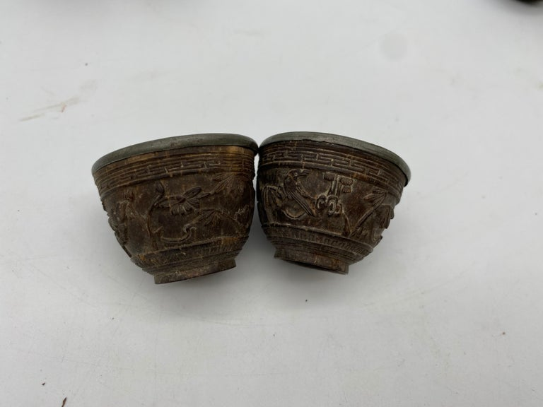 19th Century Antique Chinese Set of 6 Pewter Inlay Mini Carved Coconut Wine Cups For Sale 7