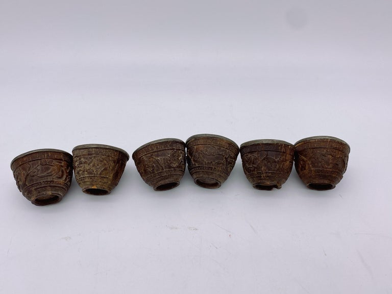 Qing 19th Century Antique Chinese Set of 6 Pewter Inlay Mini Carved Coconut Wine Cups For Sale