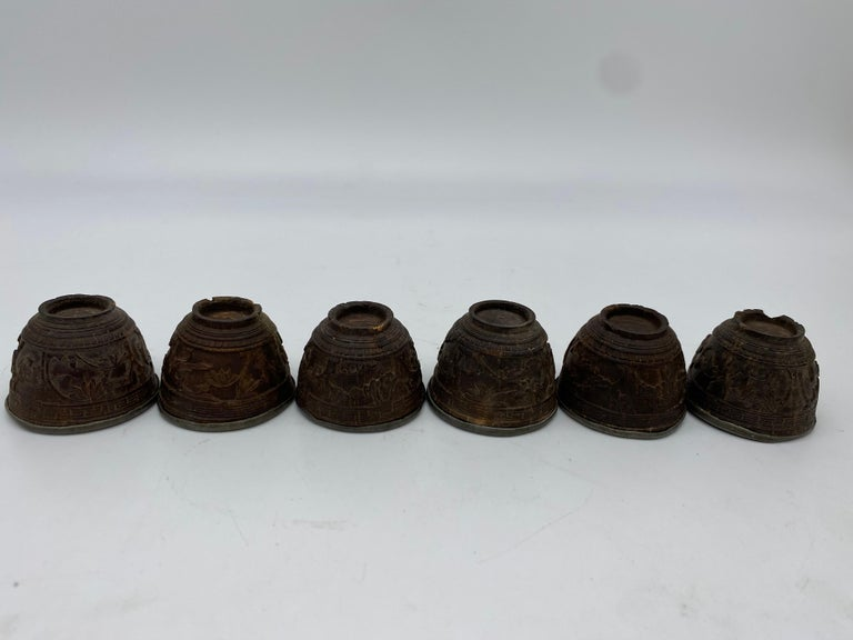 Wood 19th Century Antique Chinese Set of 6 Pewter Inlay Mini Carved Coconut Wine Cups For Sale