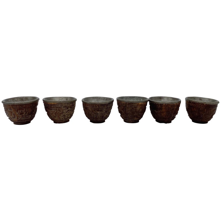 19th Century Antique Chinese Set of 6 Pewter Inlay Mini Carved Coconut Wine Cups For Sale