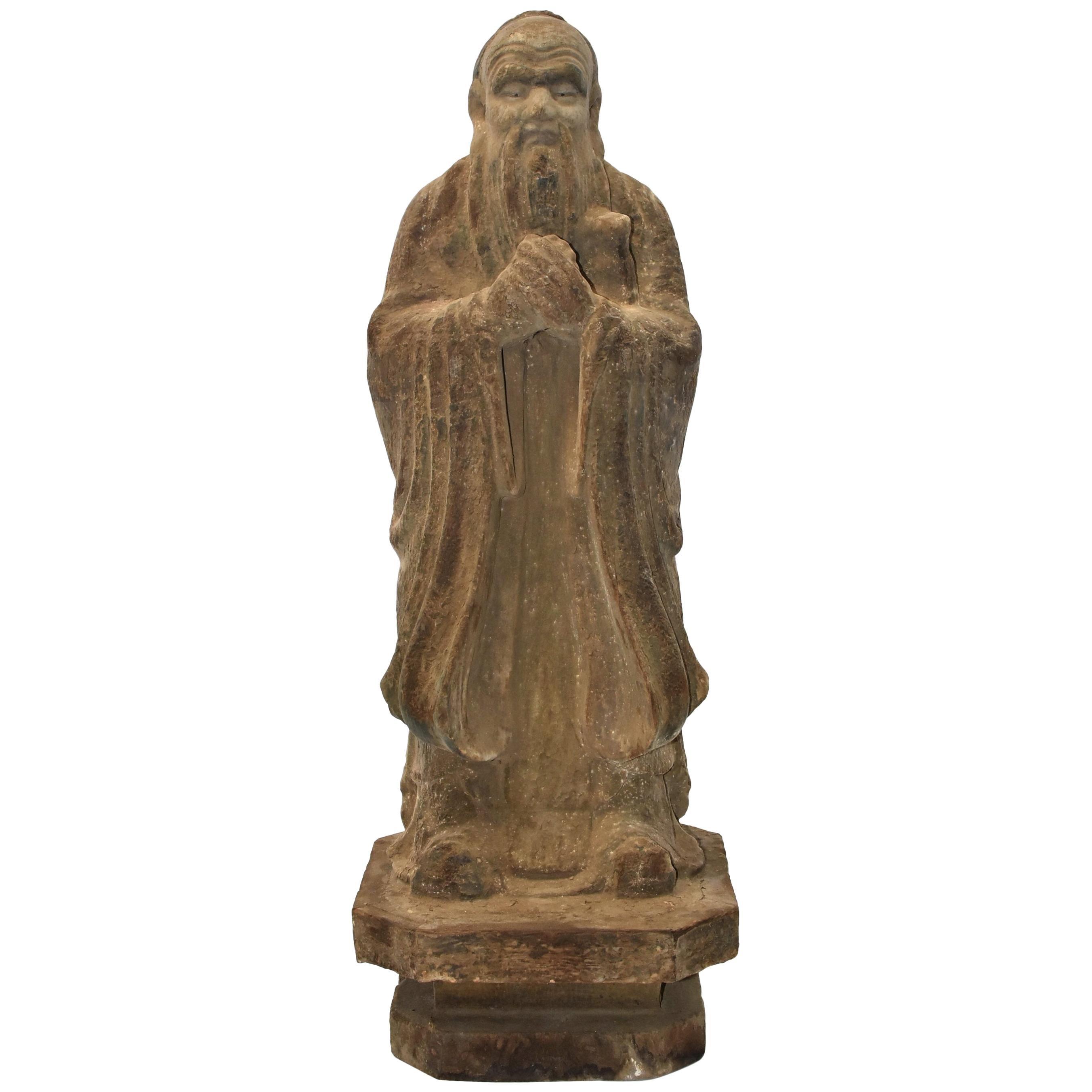 19th Century Antique Chinese Tao Philosopher Statue
