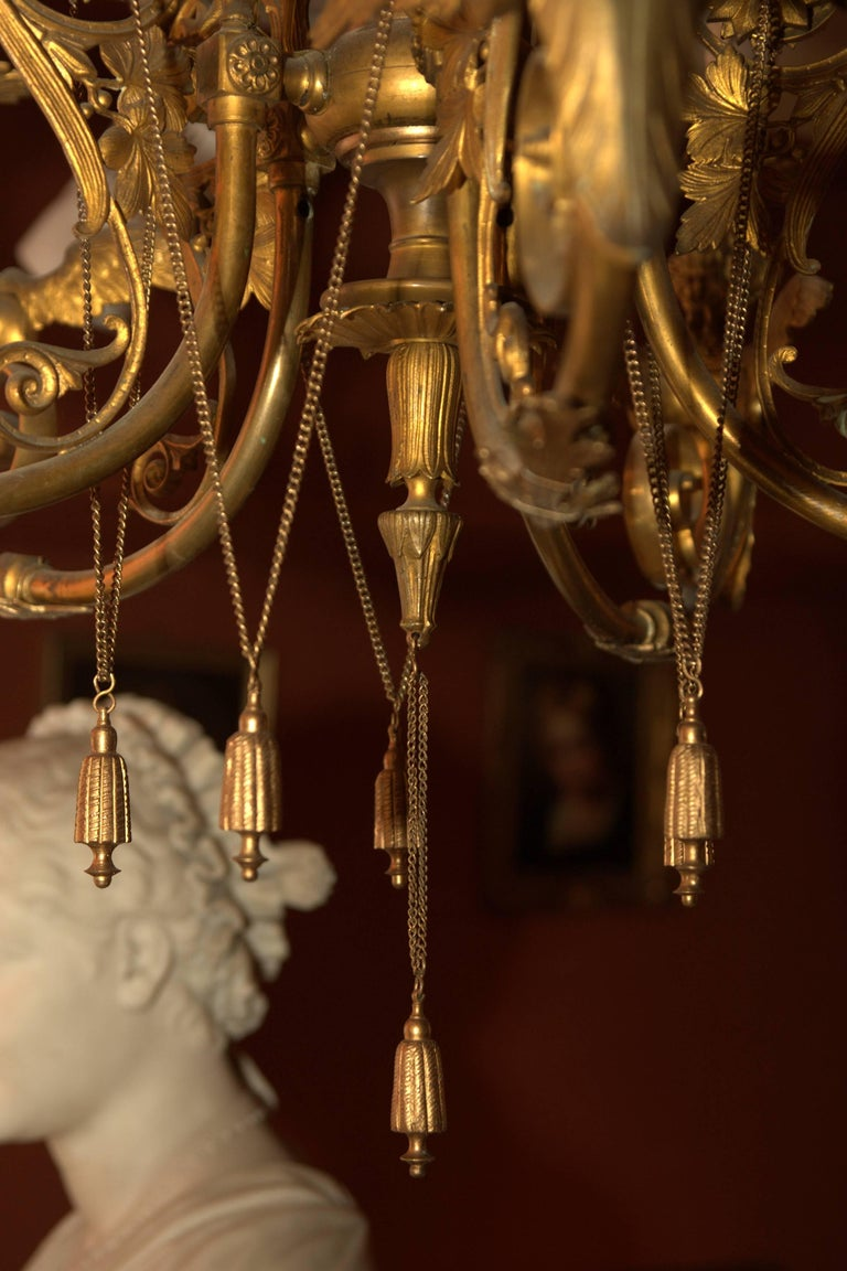 German 19th Century, Antique Classicist Ceiling Lamp Chandelier in the Empire Style For Sale