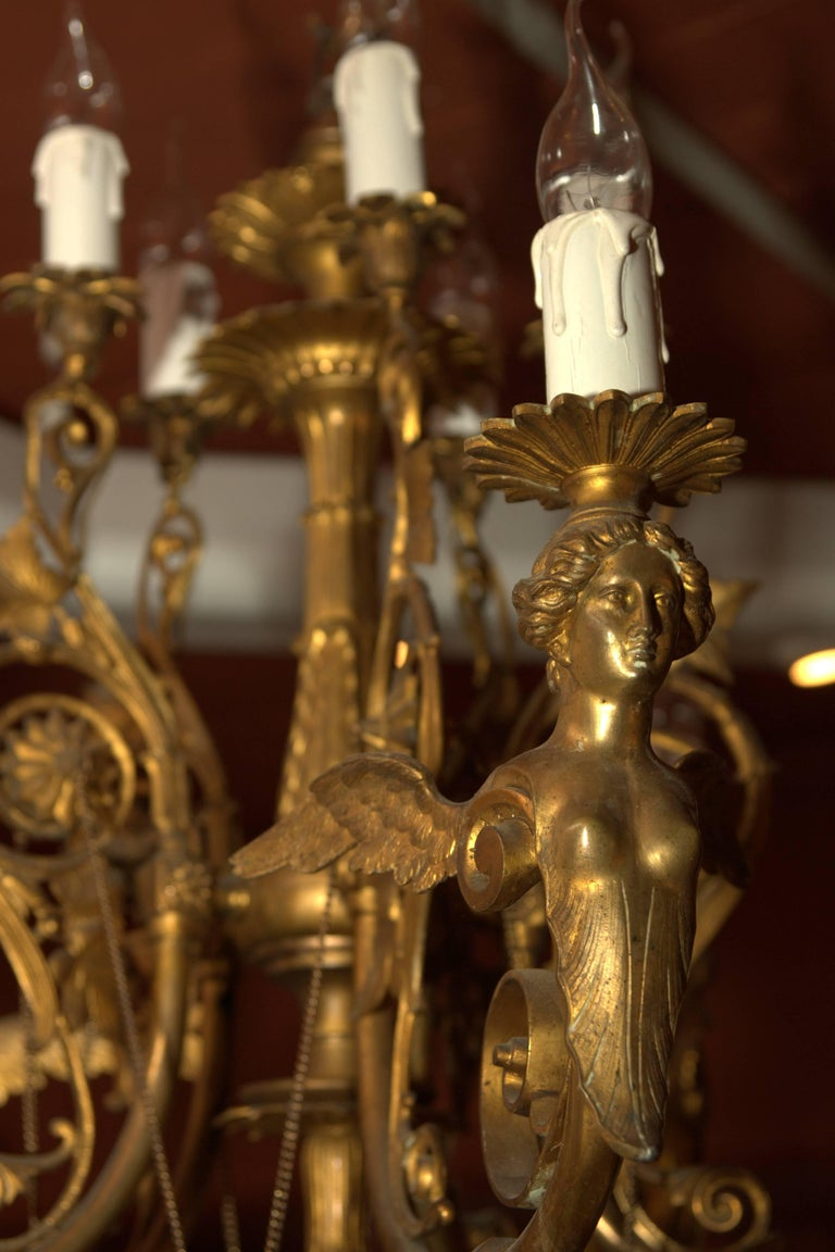 19th Century, Antique Classicist Ceiling Lamp Chandelier in the Empire Style For Sale 2