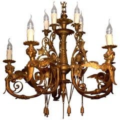 19th Century, Antique Classicist Ceiling Lamp Chandelier in the Empire Style