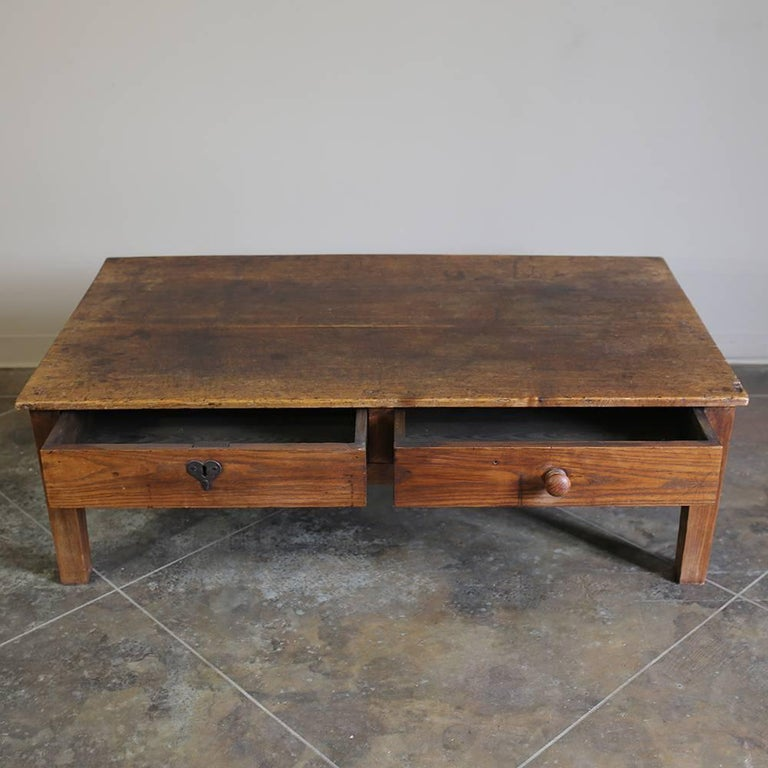 Victorian Ash Coffee Table: 19th Century Antique Country French Ash Coffee Table With